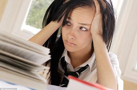 stressed GCSE maths student